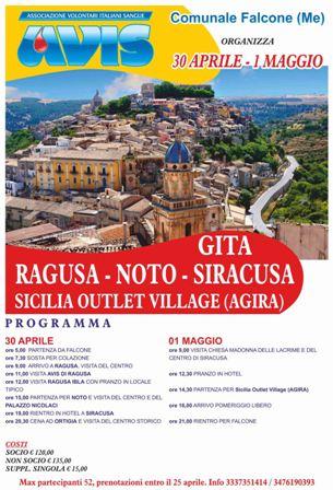 30 APRILE - 1 MAGGIO A RAGUSA, NOTO, SIRACUSA  E SICILY OUTLET VILLAGE DI AGIRA