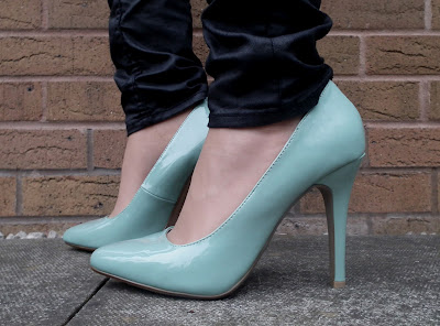 New Look pale blue patent court shoes