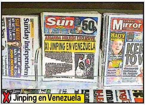 Viñeta cómic - visita presidente chino Xi Jinping a Venezuela