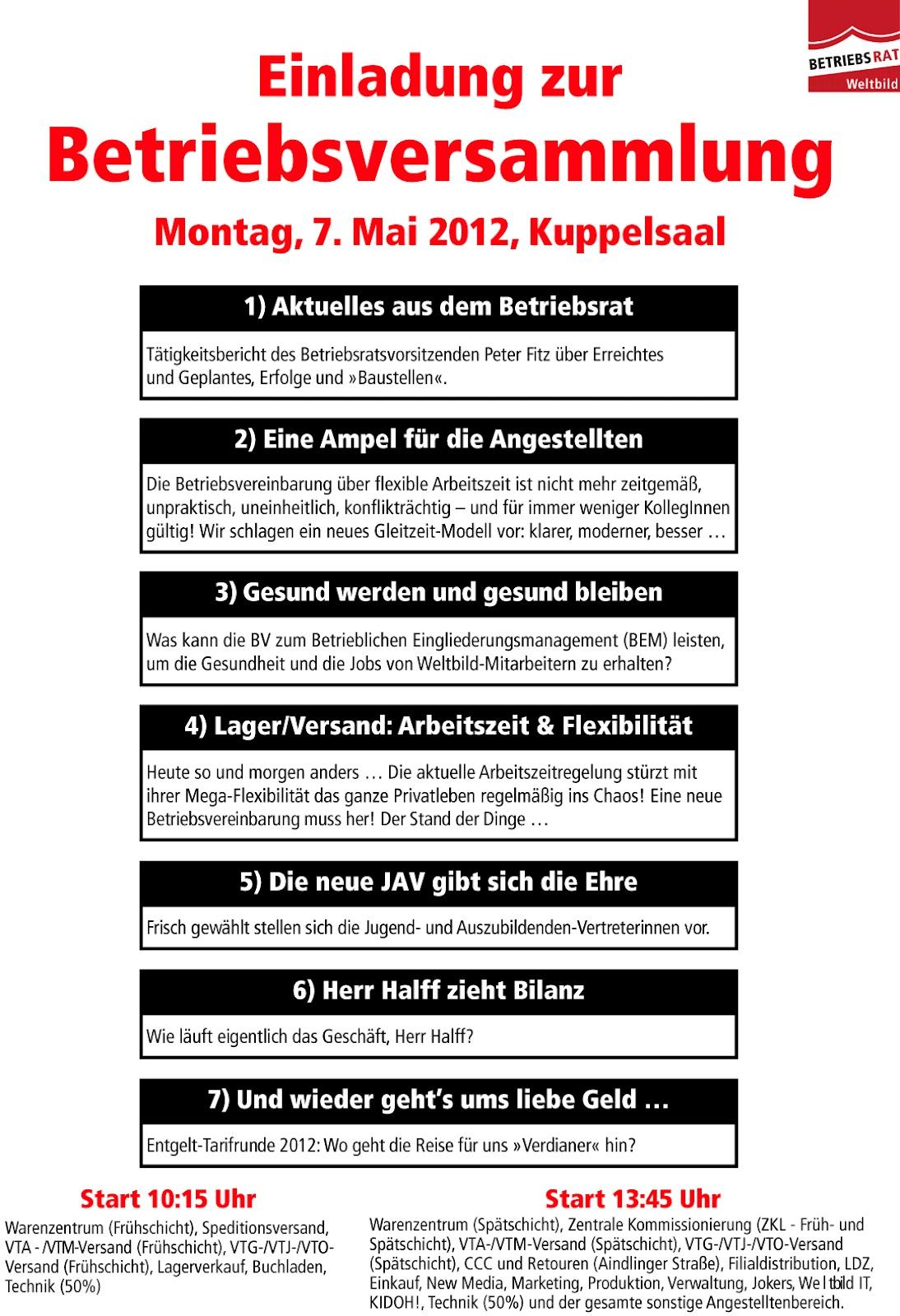 weltbild verdi infoblog: mai 2012, Einladung