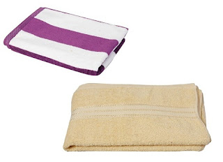 Plain Dyed Bath Towel (70×140-Yellow) + Cabana Stripes Bath Towel (70×140-Aubergine) just for Rs.359 with Free Shipping