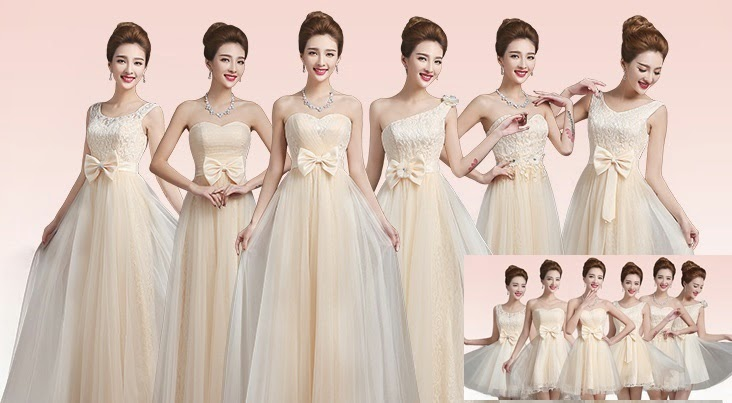 Six-Design Rose Pattern Lace with Flare Net Lace Overlay Bridesmaid Dress