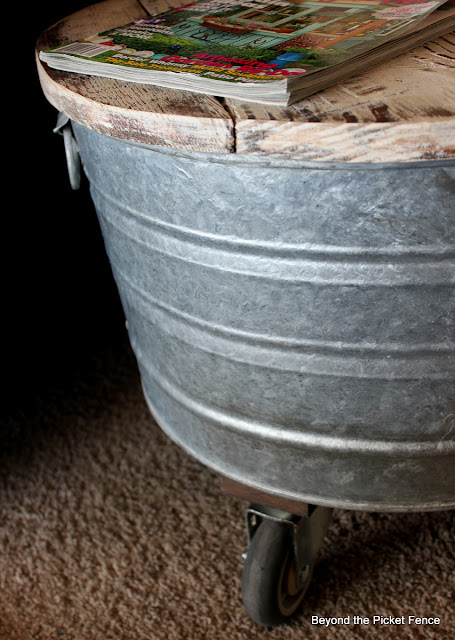 washtub wheelies repurposed washtub http://bec4-beyondthepicketfence.blogspot.com/2013/04/washtub-wheelies.html