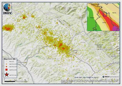 La mappa degli oltre 6000 terremoti registrati nell'area di Gubbio nel 2013