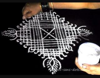 Padi kolam - rangoli with lines