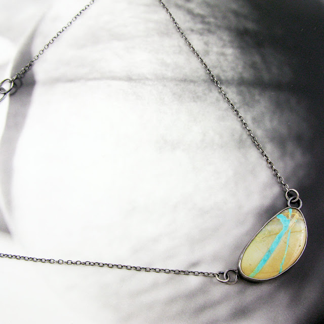 Royston Ribbon Turquoise Necklace in Sterling Silver