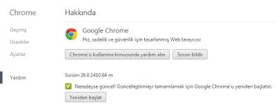 Google Chrome 27 Güncelleme