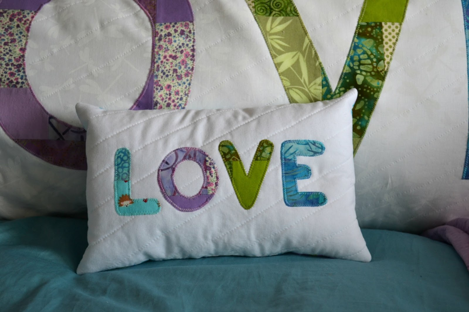 modern quilted LOVE pillow