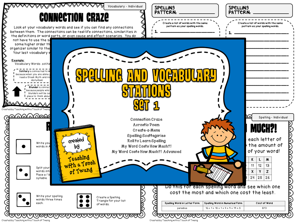 http://www.teacherspayteachers.com/Product/Spelling-and-Vocabulary-Stations-Set-1-941395