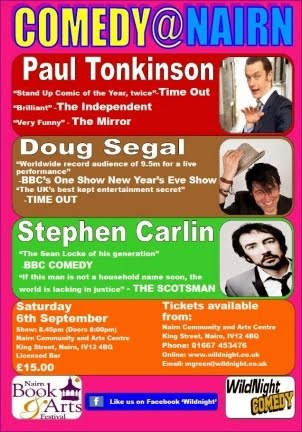 Wildnight Comedy in Nairn Community and Arts Centre Saturday 6th September