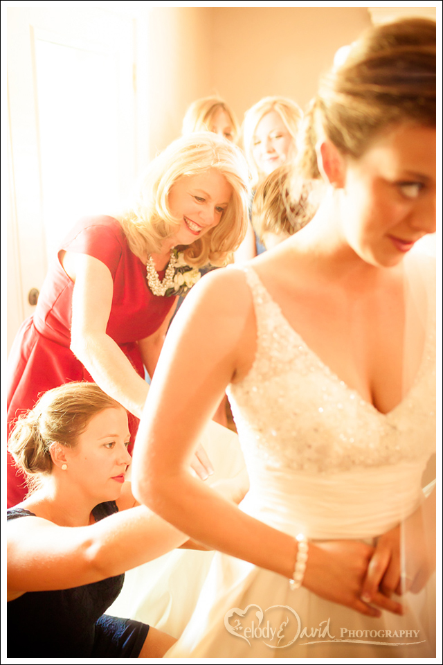 Bride getting ready inside guest house at East Lake Ranch