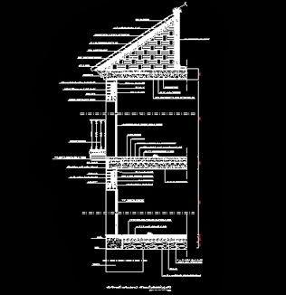 coupe transversale d 39 une habitation individuelle toiture inclin e fichier autocad dwg. Black Bedroom Furniture Sets. Home Design Ideas