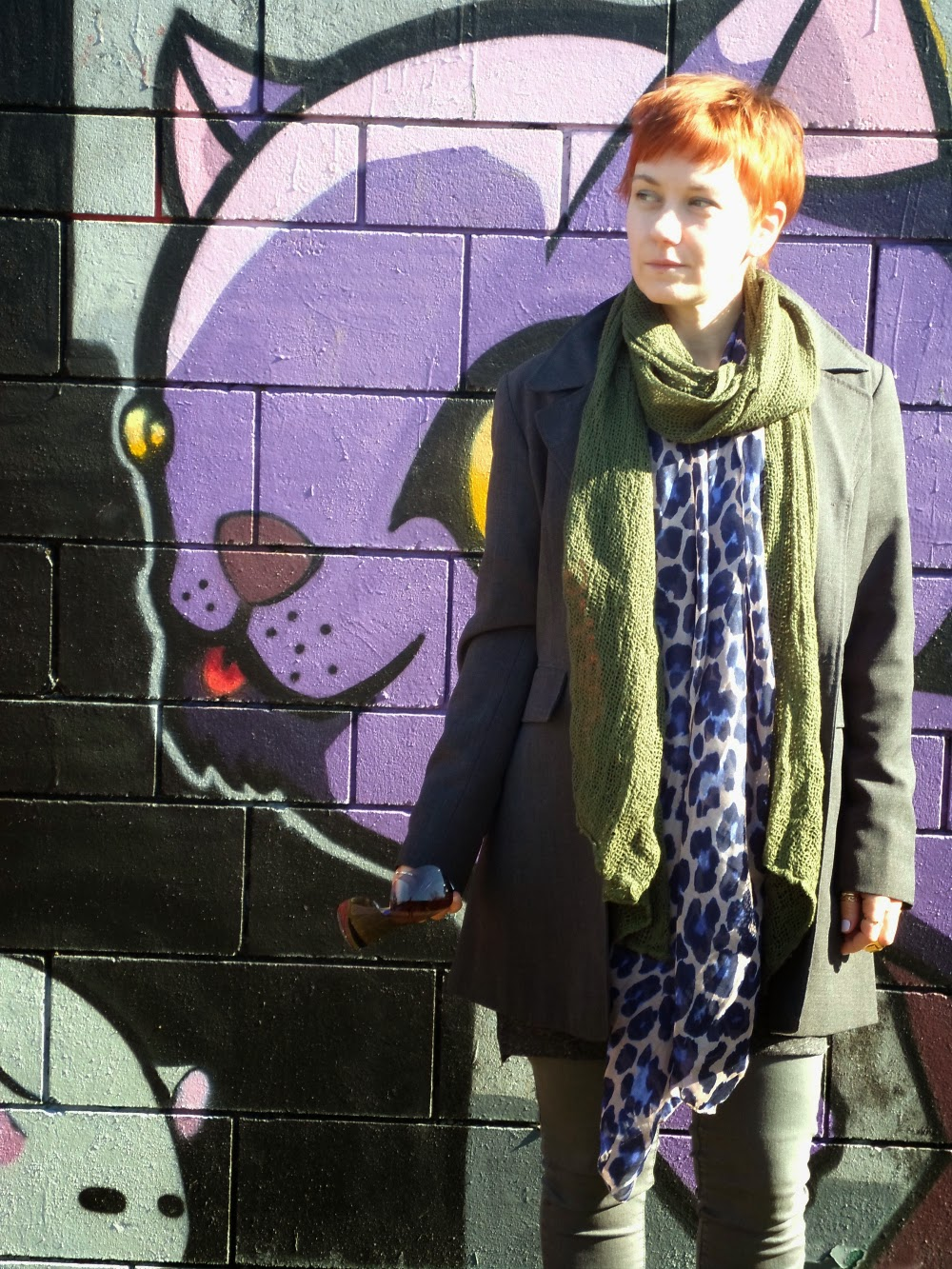 Stylish layers galore with a grey blazer, green military style shirt, a t-shirt dress, grey skinnies and a scarf double | Back at the Wall - Funky Jungle, fashion and personal style blog