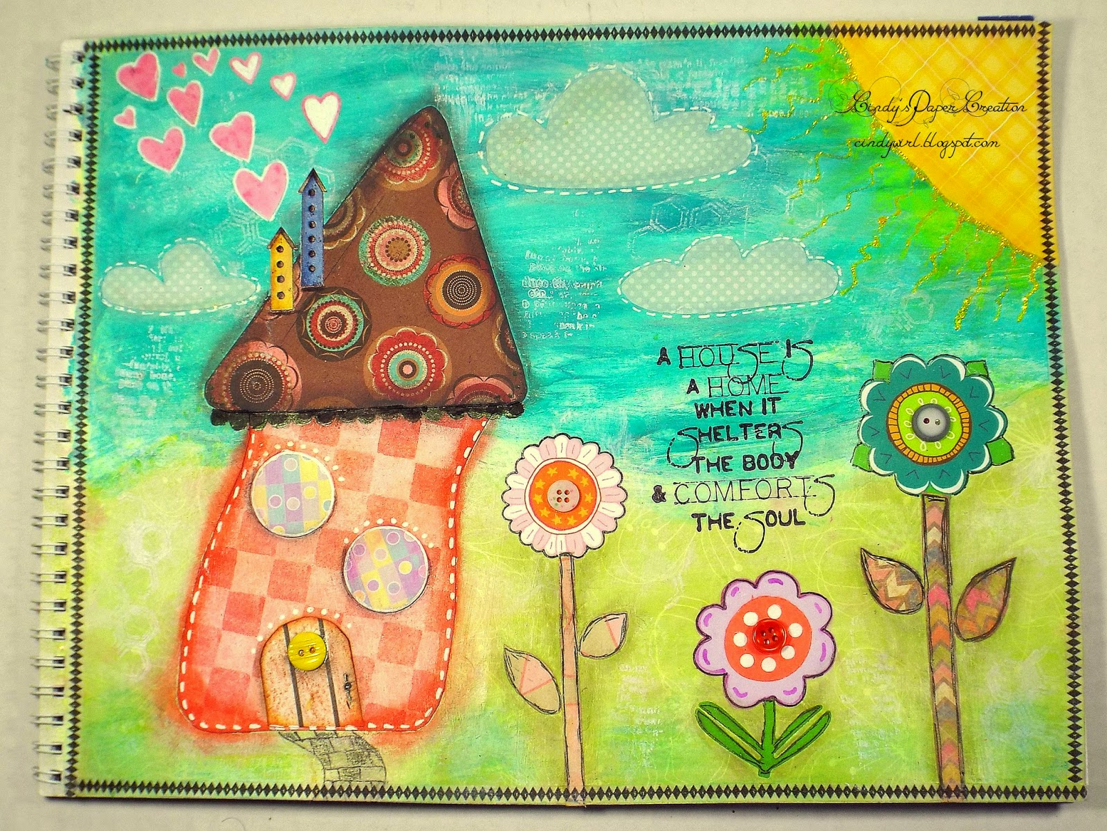 Mixed Media House by cindywirl.blogspot.com