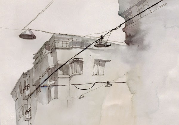 Water colour picture of Street of Instanbul, Turkey