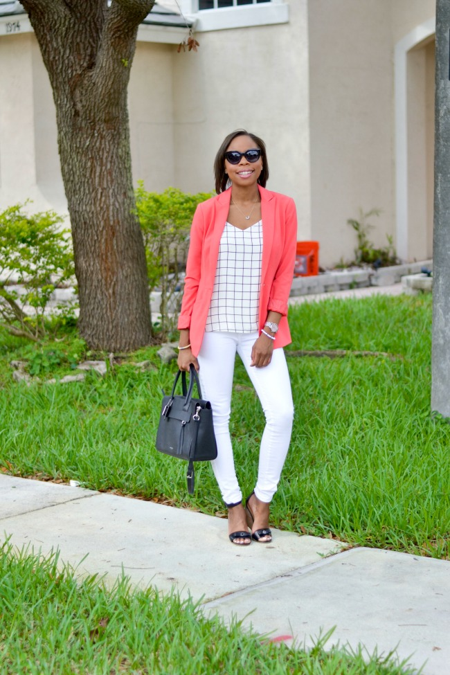 Pink Blazer + White Jeans | Casual Work Look