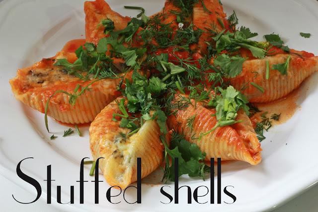 stuffed shells spinach cottage cheese blog recipe ракушки фаршированные шпинат творог пошаговый рецепт фото photo receipt