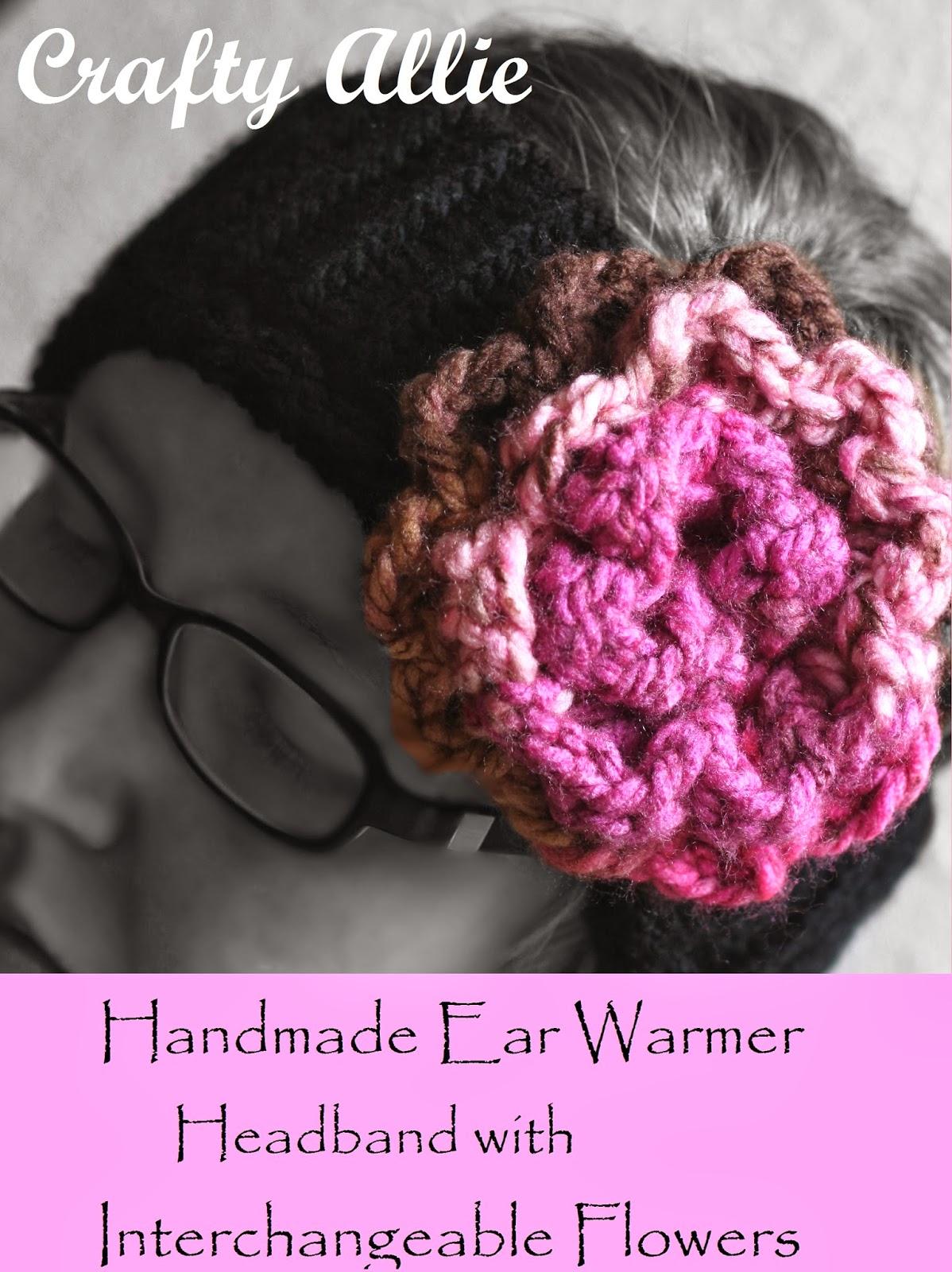 Crafty Allie Knitted Ear Warmer Headband With Interchangeable Flowers