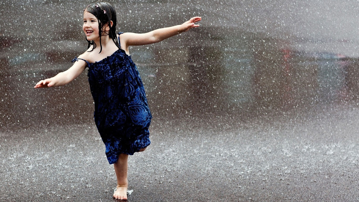 Cute Girl in Rain Desktop Wallpaper