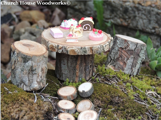 DIY Miniature Doll Wooden Garden Table Chairs Stepping Stones, Wood slice stepping stone pathway, Miniature Wood Table Chairs, Glitter Paint For Crafts,