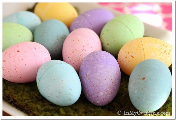 Chalk Painted Plastic Easter Eggs by In My Own Design