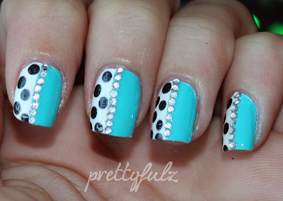 prettyfulz blue polka dot nail art  love letter nails