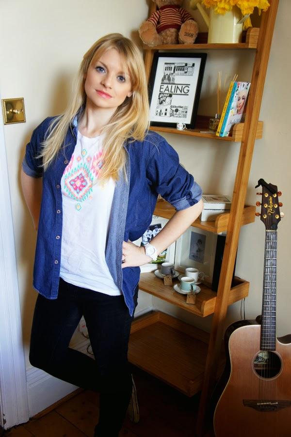denim shirt, blogger denim shirt, fashion blogger denim