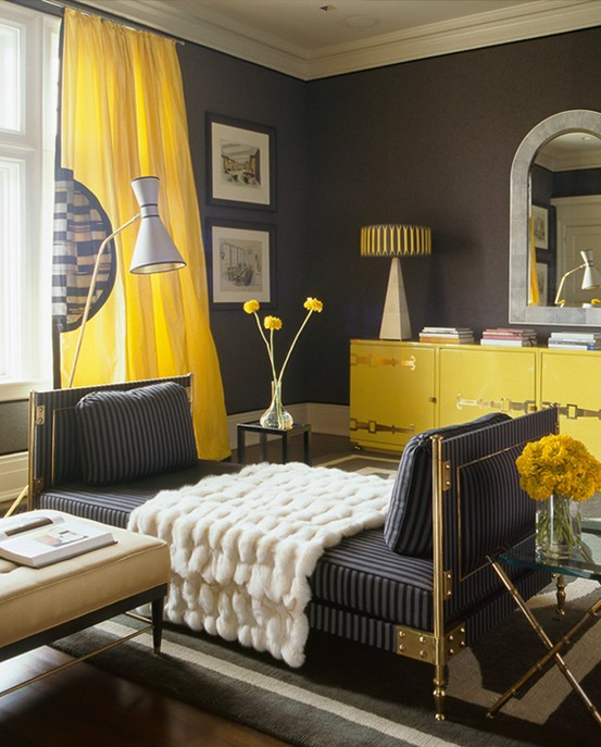 Gray And Yellow Living Room Decorating Ideas (9 Image)