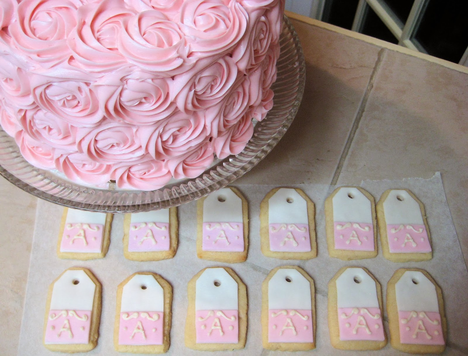 Shabby Chic Pink Rose Cake and Teabag Cookies Together - Close-Up 1