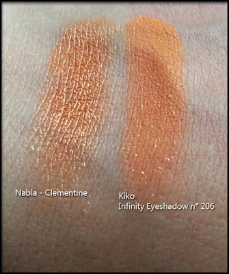 Nabla Cosmetics - Butterfly Valley - Confronto tra Clementine di Nabla Cosmetics e l'Infinity Eyeshadow n° 206 di Kiko