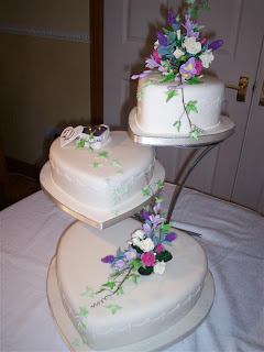3 Tier Wedding Cake stands With Flowers