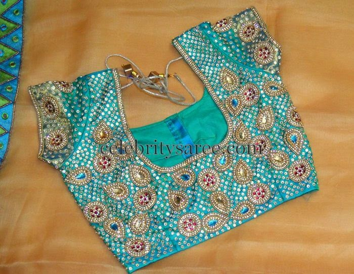 Sea Green All Over Stone Work Blouse