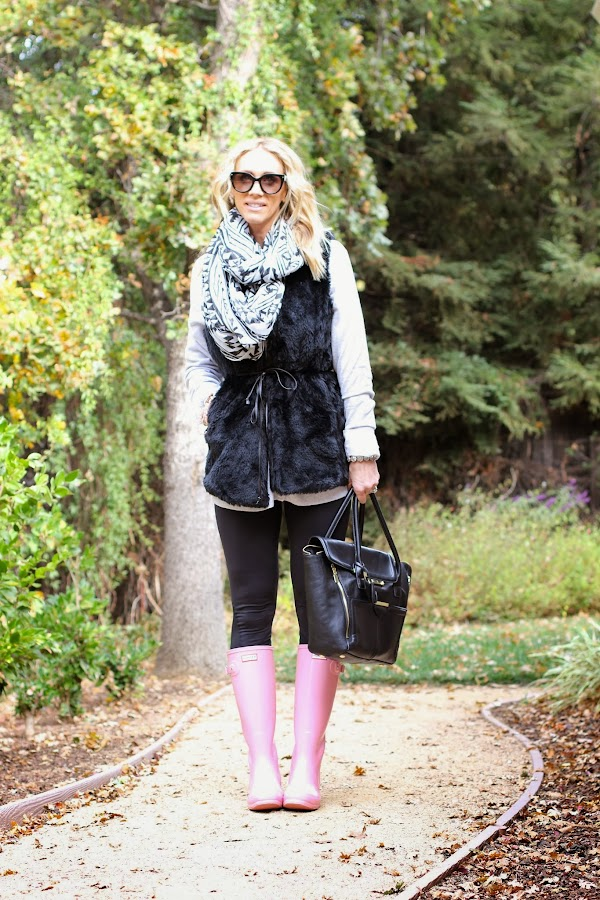 fur vest leggings rain boots