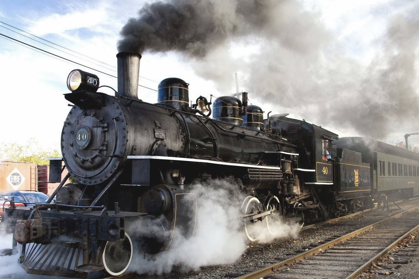 Steam locomotive train an example of external combustion engines.