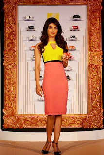 Priyanka Chopra looking hot in Bright Yellow Pink Dress