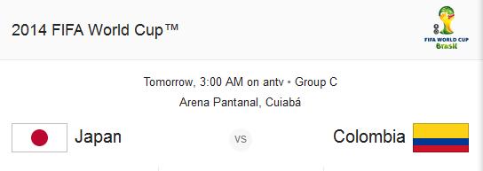Jadwal Siaran Langsung Jepang vs Kolumbia - Piala Dunia 2014