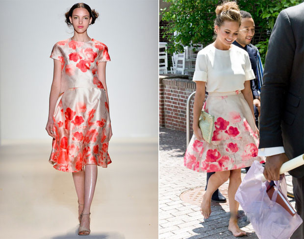 The model wore a delightfully summery look, donning a loose-fit Maiyet short-sleeved top with a gorgeous Lela Rose pale-pink blossom-print flared skirt.