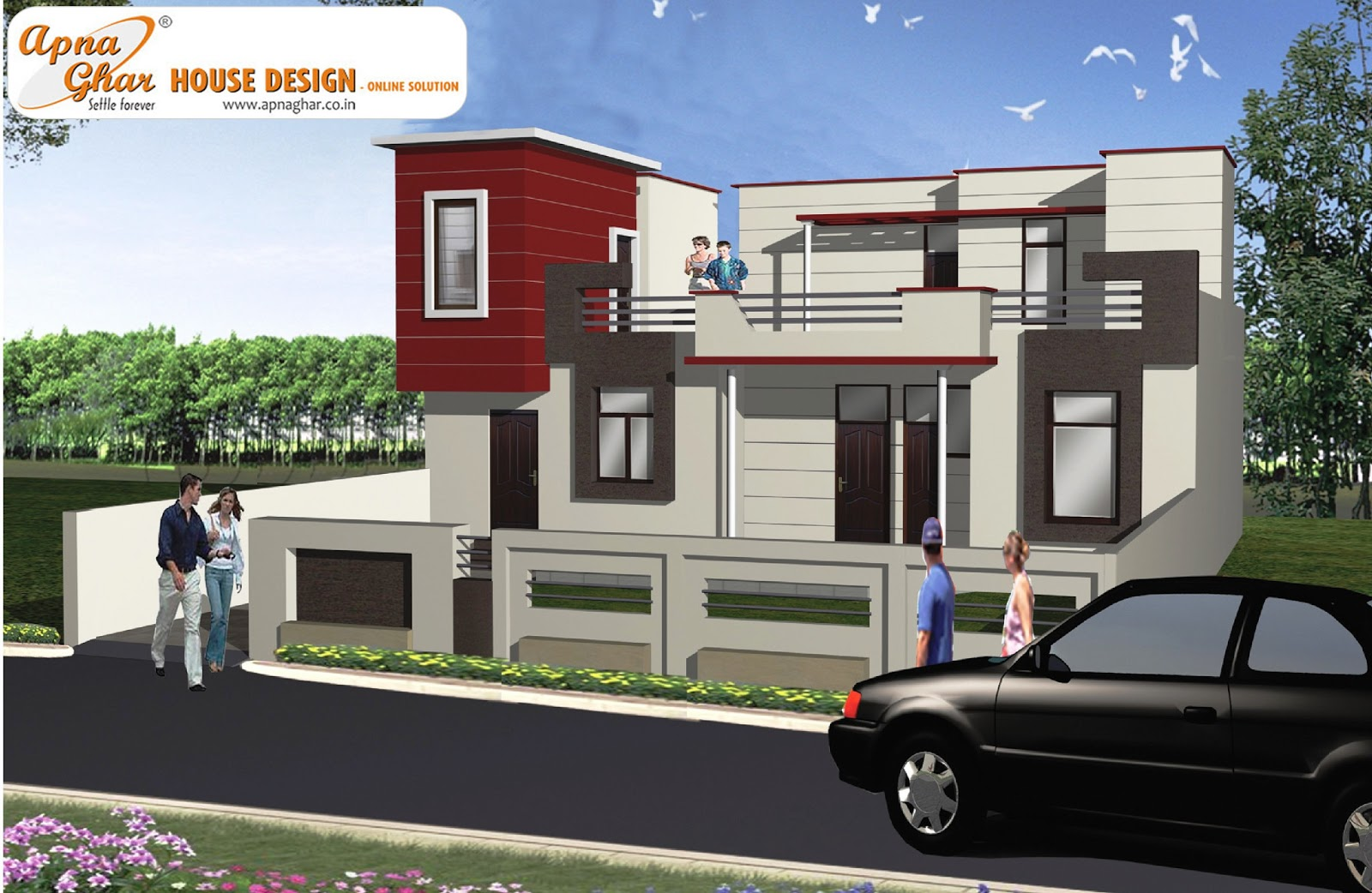 Modern beautiful duplex house design home staging for Modern duplex house designs
