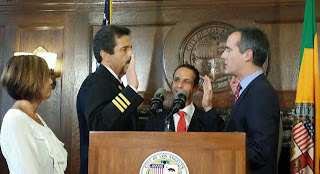 LAFD Chief Ralph Terrazas is sworn into office by Los Angeles Mayor Eric Garcetti