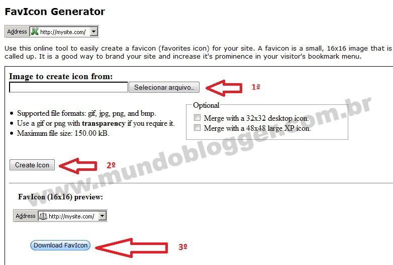 configurar o favicon pelo painel do Blogger
