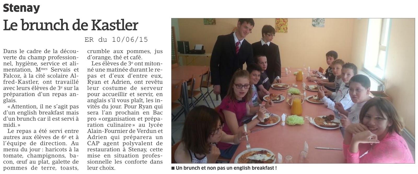 Cit u00e9 scolaire Alfred KASTLER   STENAY  Le brunch des 3 u00e8mes