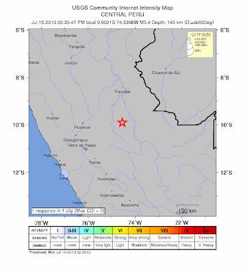 Epicentro sismo 5,4 grados en Peru, el 15 de Julio 2013