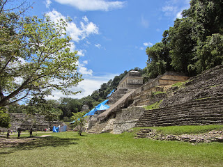 View of the Temple of Inscriptions Group at Palenque in Mexico