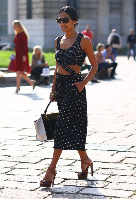 Crop tops pocket midi skirts, high heels and hand bag for ladies