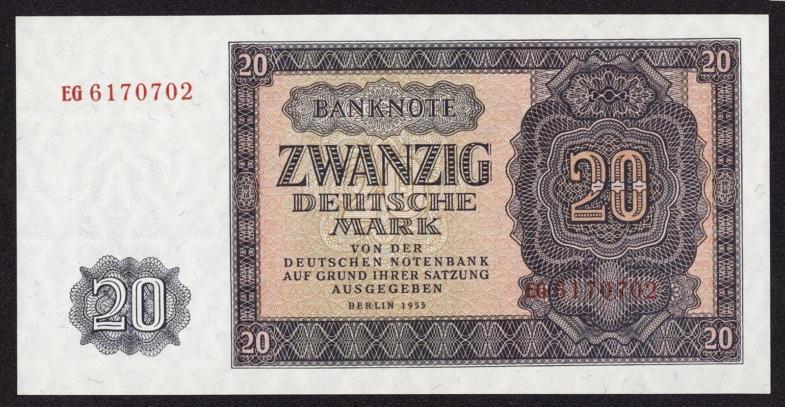 East Germany Ddr 20 Deutsche Mark 1955 World Banknotes