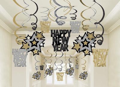 Happy+New+Year+decorations Ano Novo   Decoração e preto e dourado