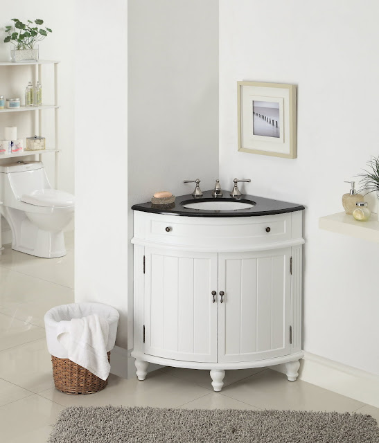 amazing bright white wood corner bathroom vanities with facial soap on top