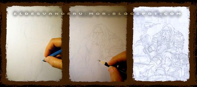 En estas imagenes se ve el proceso de realización del boceto de la ilustración de Din en pasos. Primero se usa un lapiz azul para el encaje, y después se dibuja las líneas definitivas con lápiz graso. Trabajo hecho por ªRU-MOR para el juego de rol Usûlun