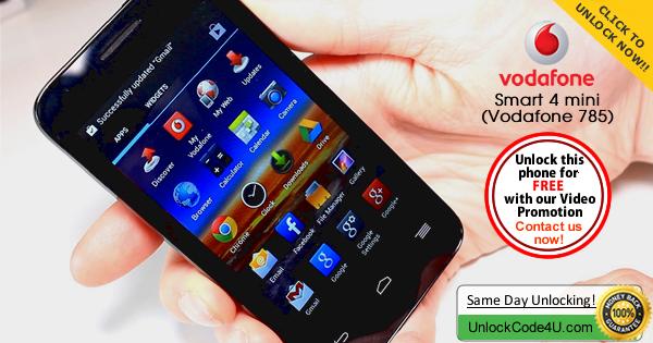 Factory Unlock Code for Alcatel Vodafone Smart 4 Mini (Vodafone 785)