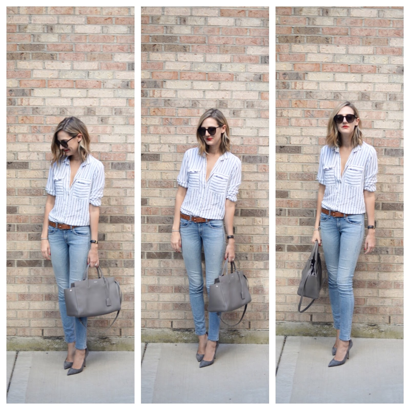 gray outfit, stripe shirt, jeans